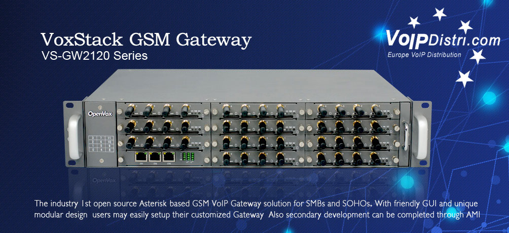 OpenVox VoxStax GSM Gateway: The industry 1st opensource based GSM VoIP Gateway solution for SMBs and SOHOs. With friendly GUI and unique modular design users may easily setup their customized Gateway. Also decondary development can be completed through AMI.